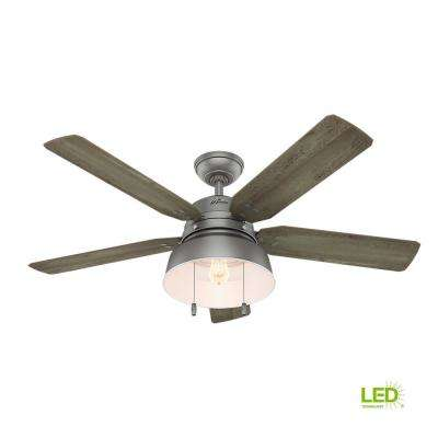 Mill Valley 52 in. LED Indoor/Outdoor Matte Silver Ceiling Fan with Light