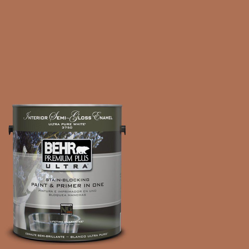 BEHR Premium Plus Ultra 1 gal. #UL120-6 Glazed Pot Semi-Gloss Enamel Interior Paint and Primer in One