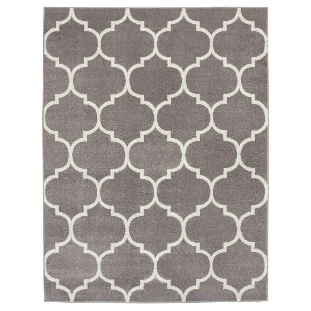 King Collection Moroccan Trellis Grey 8 ft. x 10 ft. Indoor