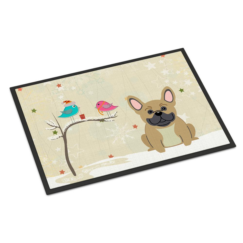 18 in. x 27 in. Indoor/Outdoor Christmas Presents between Friends French Bulldog Cream Door Mat