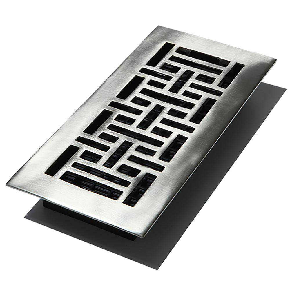 4 in. x 10 in. Solid Brass Oriental Floor Register