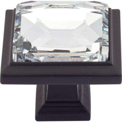 Legacy Crystal Collection 1-1/4 in. Matte Black Square Cabinet Knob