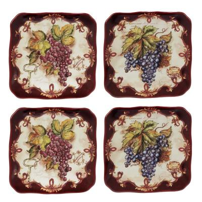 Vintners Journal 4-Piece Traditional Multi-Colored Ceramic 6 in. Canape Plate Set (Service for 4)