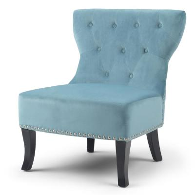 Kitchener 28 in. Wide Traditional Accent Chair in Mediterranean Blue Velvet