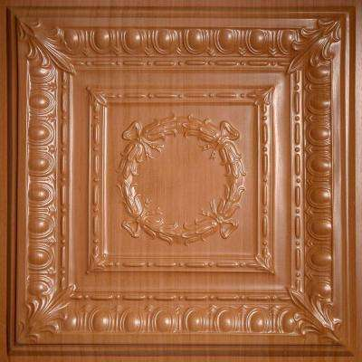 Empire Faux Wood-Caramel 2 ft. x 2 ft. Lay-in or Glue-up Ceiling Panel (Case of 6)