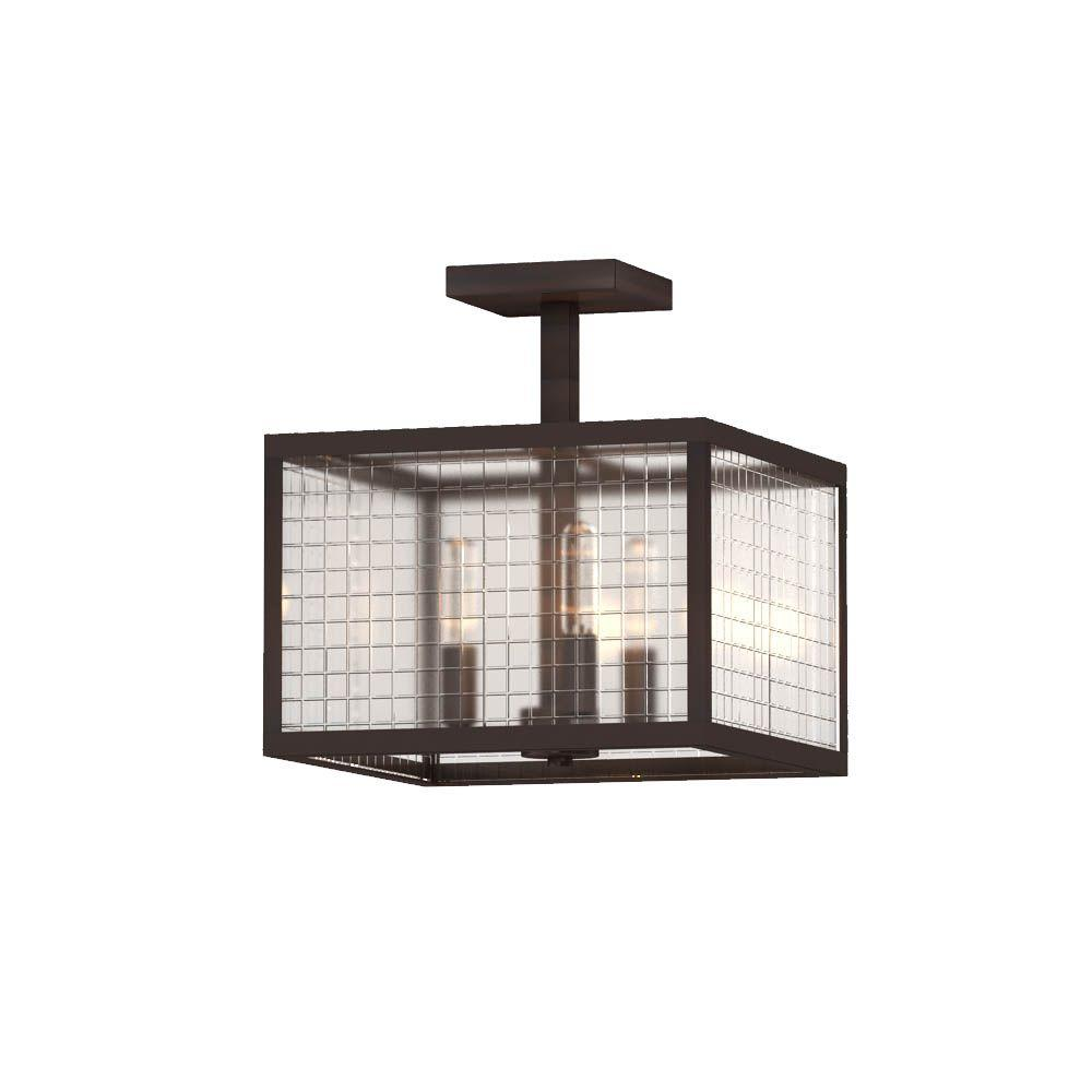 3-Light Oil-Rubbed Bronze Semi-Flush Mount Light with Etched Clear Glass Shades