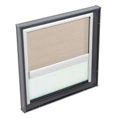 22-1/2 in. x 22-1/2 in. Fixed Curb Mount Skylight with Tempered Low-E3 Glass & Classic Sand Manual Light Filtering Blind