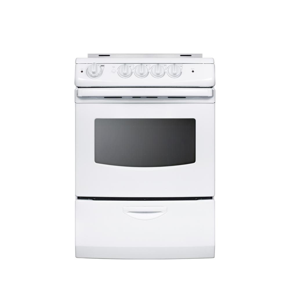 Electric Range Smooth Top Cooking Surface Summit On In: Summit 24 In. 3 Cu. Ft. Slide-In Electric Range In White