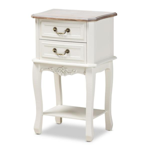 Amalie 2-Drawer Wood White and Oak Nightstand