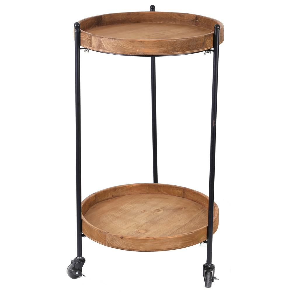 Vintiquewise 2 Tier Round Bar Cart With Wooden Serving On Wheels