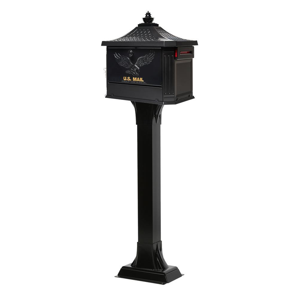 Hemingway Locking Aluminum Large Mailbox and Post Combo, Black