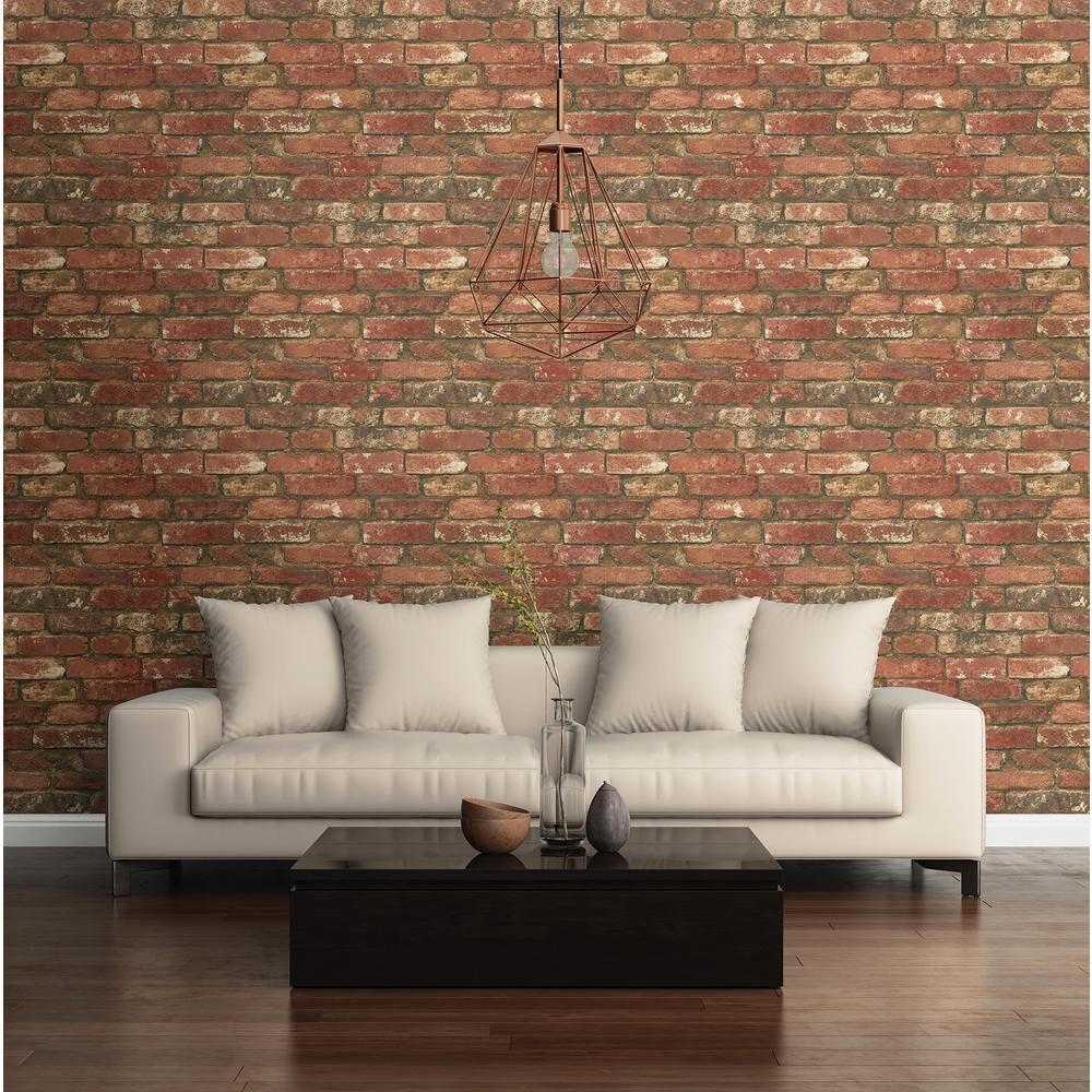 NuWallpaper Red West End Brick Peel and Stick Wallpaper by NuWallpaper