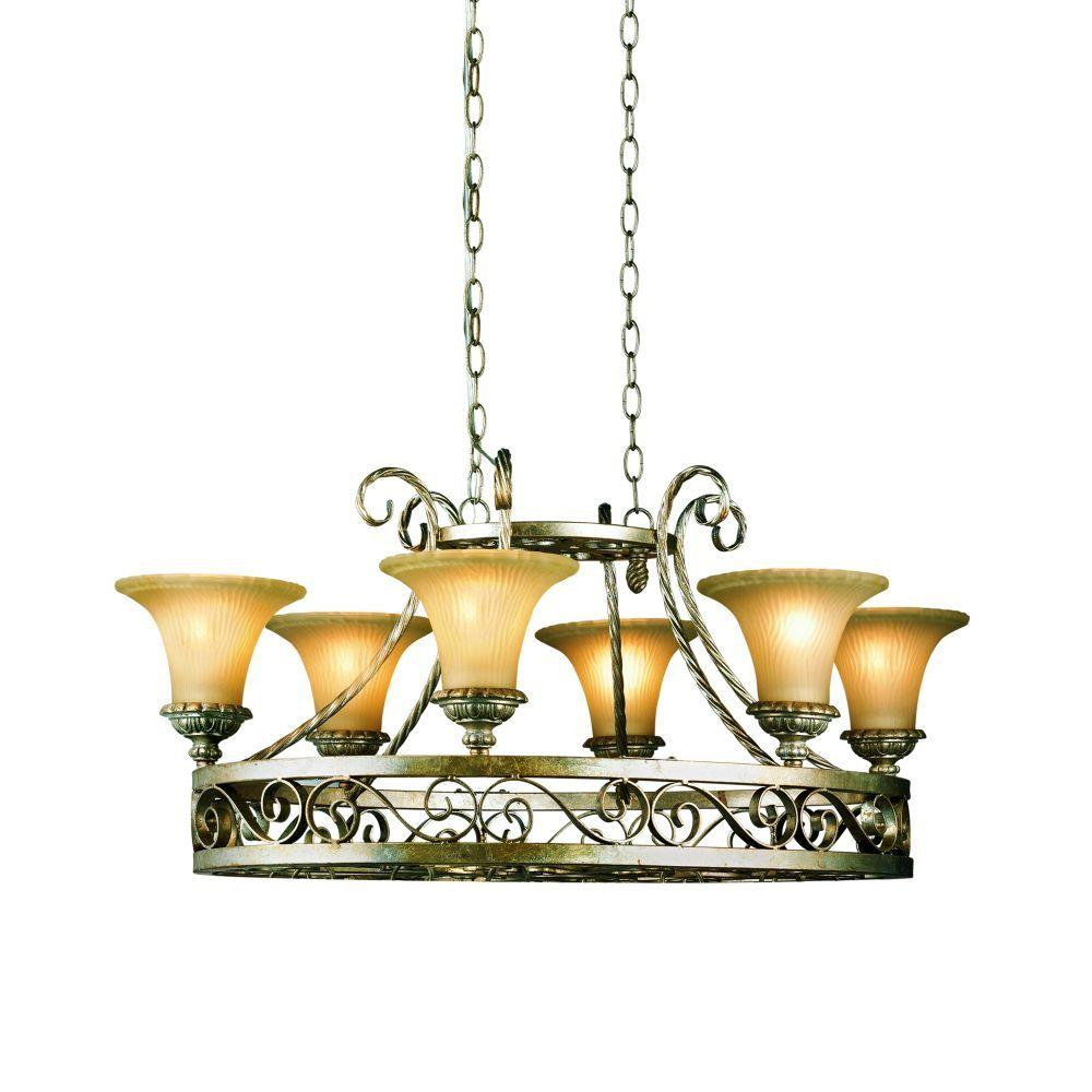 Eurofase Seraphine Collection 6-Light Silver and Gold Hanging Chandelier
