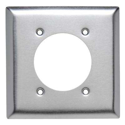 302 Series 2-Gang 2.2813 in. Hole Power Receptacle Wall Plate, Stainless Steel