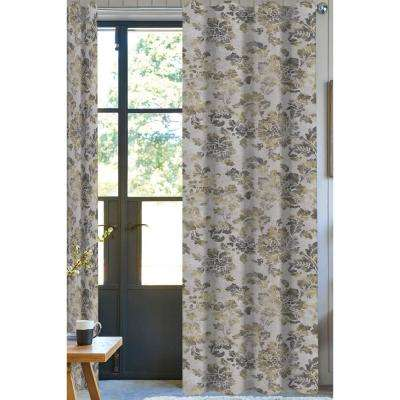 Floral Light Filtering Drapery Panel in Ivory/Brown - 50 in. x 96 in.