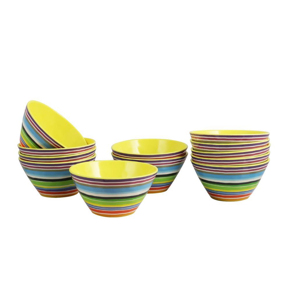 Color Celebration Yellow Melamine Bowl (Set of 12)