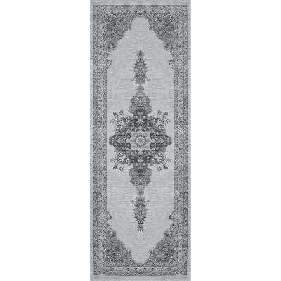 Washable Parisa Grey 3 ft. x 7 ft. Stain Resistant Runner Rug