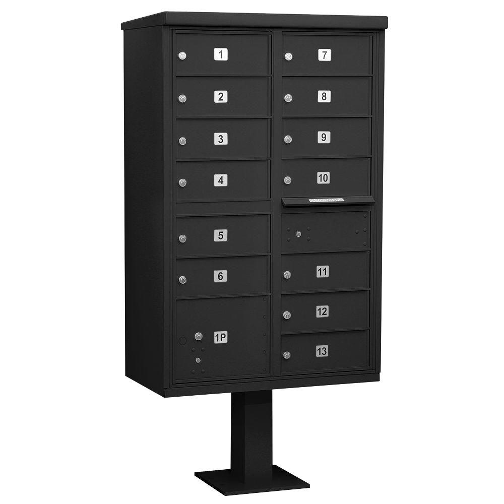 Black USPS Access Cluster Box Unit with 13 B Size Doors