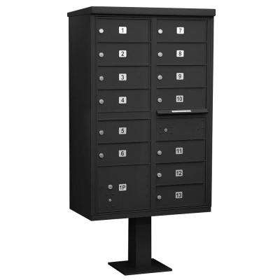 Black USPS Access Cluster Box Unit with 13 B Size Doors and Pedestal