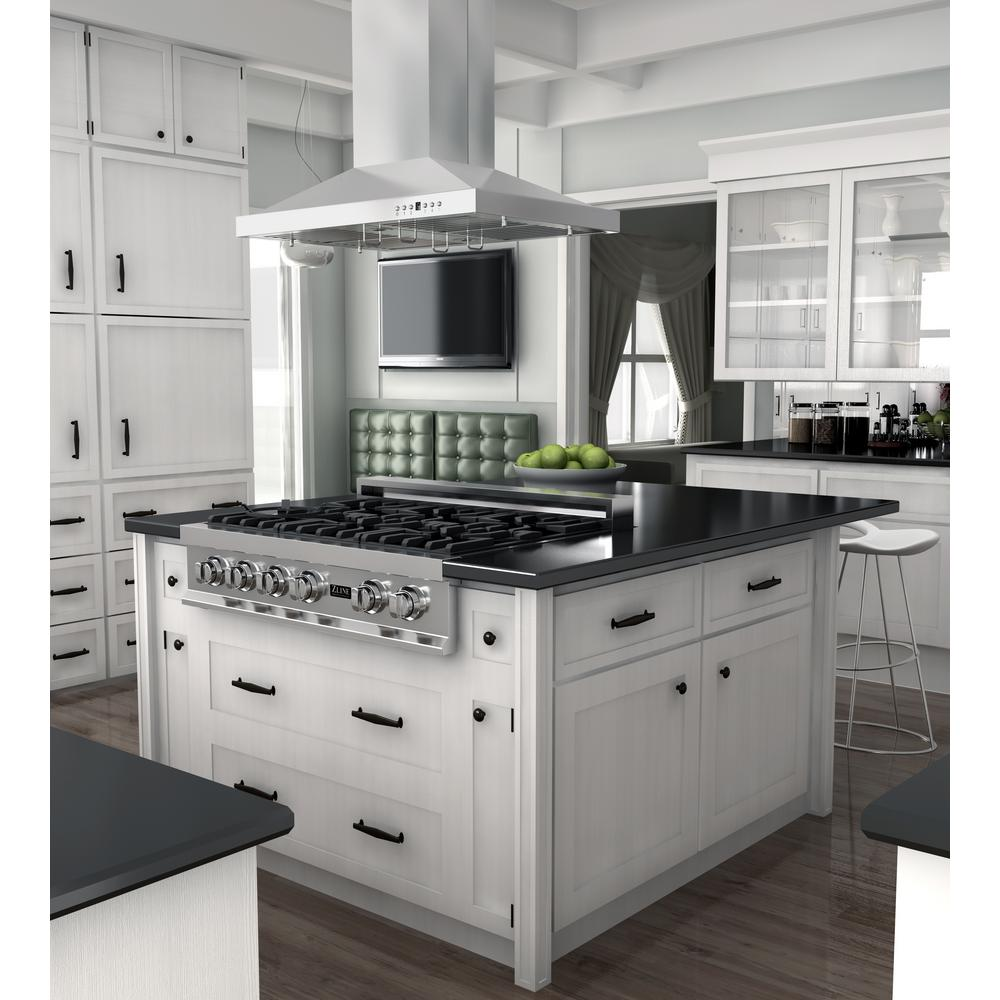 Zline Kitchen And Bath Zline 36 In Island Mount Range Hood In Stainless Steel Gl2i 36 Gl2i 36 The Home Depot