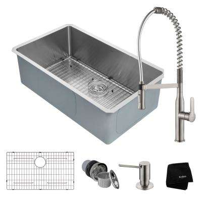Handmade All-in-One Undermount Stainless Steel 32 in. Single Bowl Kitchen Sink with Faucet in Stainless Steel