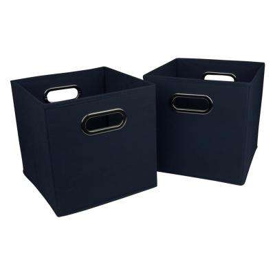 2 in. H x 12 in. W Blue Foldable Fabric Storage Bins (2-Pack)