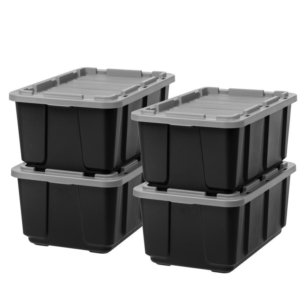 27 Gal. Storage Bin in Black with Gray Lid (4-Pack)