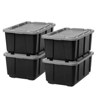 Storage Tote In Black With Gray Lid (4 Pack)