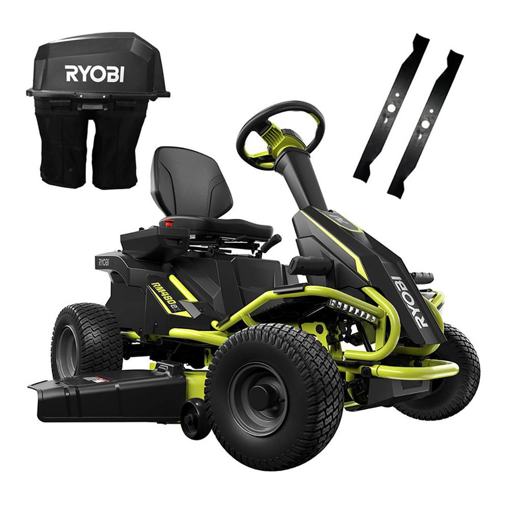 RYOBI 38 in  100 Ah Battery Electric Rear Engine Riding Lawn Mower and  Bagging Kit