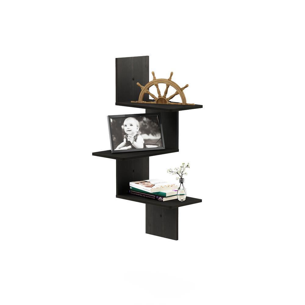 Rossi Modern 13 in. x 13 in. x 32 in. Espresso Wood Decorative Wall Shelf