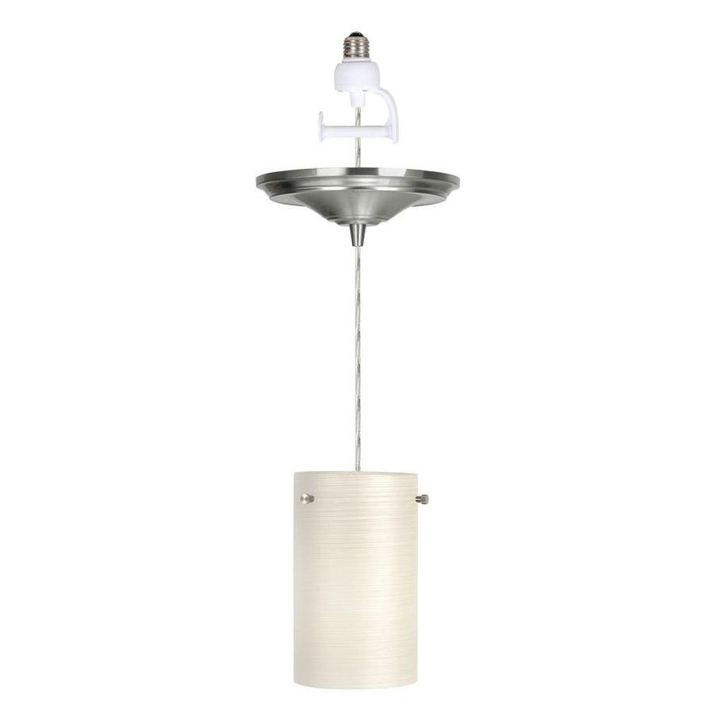 Worth Home Products 1-Light Brushed Nickel Instant Pendant Light Conversion Kit with White Glass Shade-DISCONTINUED