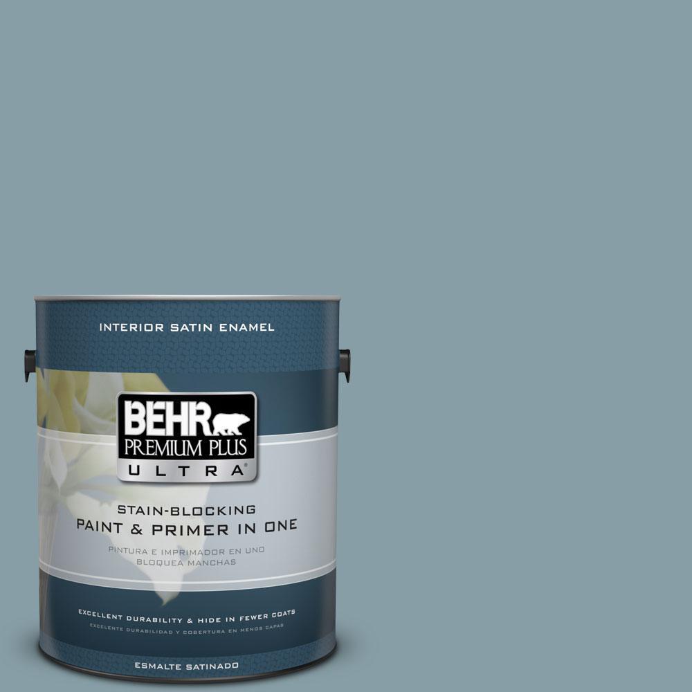 1-gal. #BNC-18 Aqua Gray Satin Enamel Interior Paint
