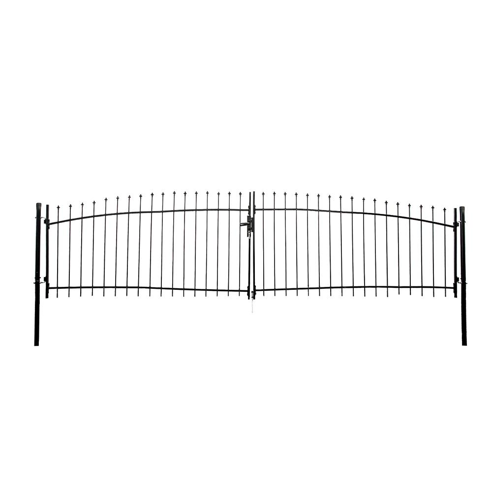 athens style 15 ft x 5 ft black steel diy dual swing driveway Entrance Gate Diagram athens style 15 ft x 5 ft black steel diy dual swing driveway fence gate dwgd15x5 hd the home depot