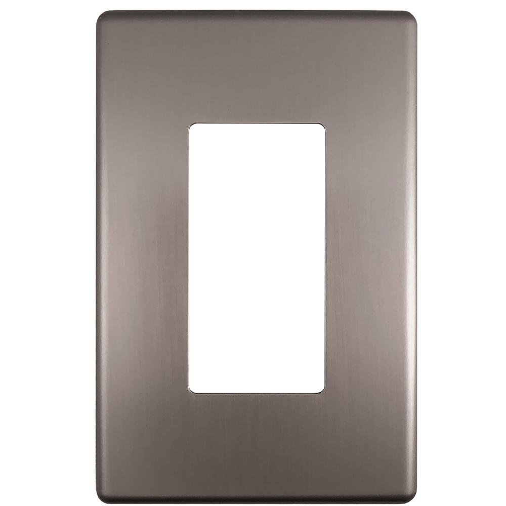 Hampton Bay Kentley Screwless Steel 1 Decora Wall Plate