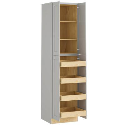 Tremont Assembled 24x96x24 in. Plywood Shaker Utility Kitchen Cabinet Soft Close 4 rollouts in Painted Pearl Gray