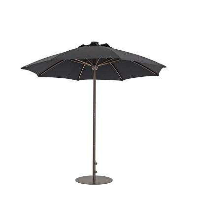9 ft. Automatic Market Patio Umbrella with Lights in Black