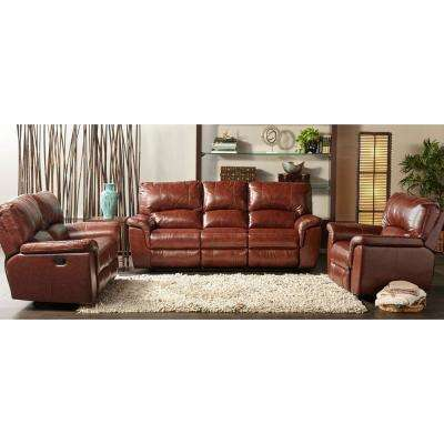 Charleston Power Brown Double Reclining Leather Sofa