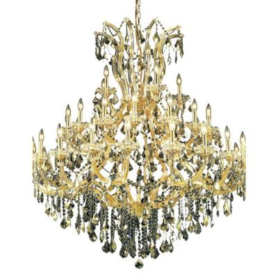 41-Light Gold Chandelier with Golden Teak Smoky Crystal