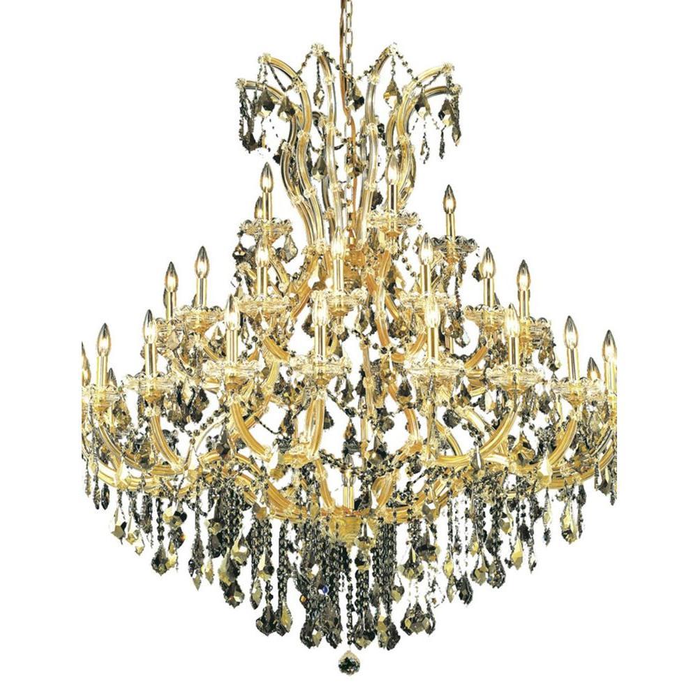 41-Light Gold Chandelier with Golden Teak Smoky Crystal