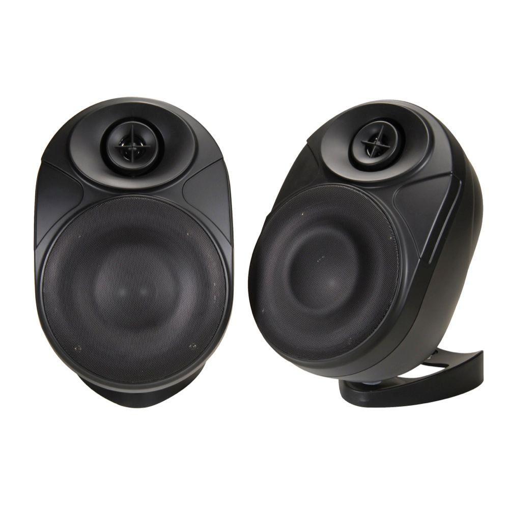NXG 6 in. Weather Resistant Wireless Indoor/Outdoor Powered Speakers - Black