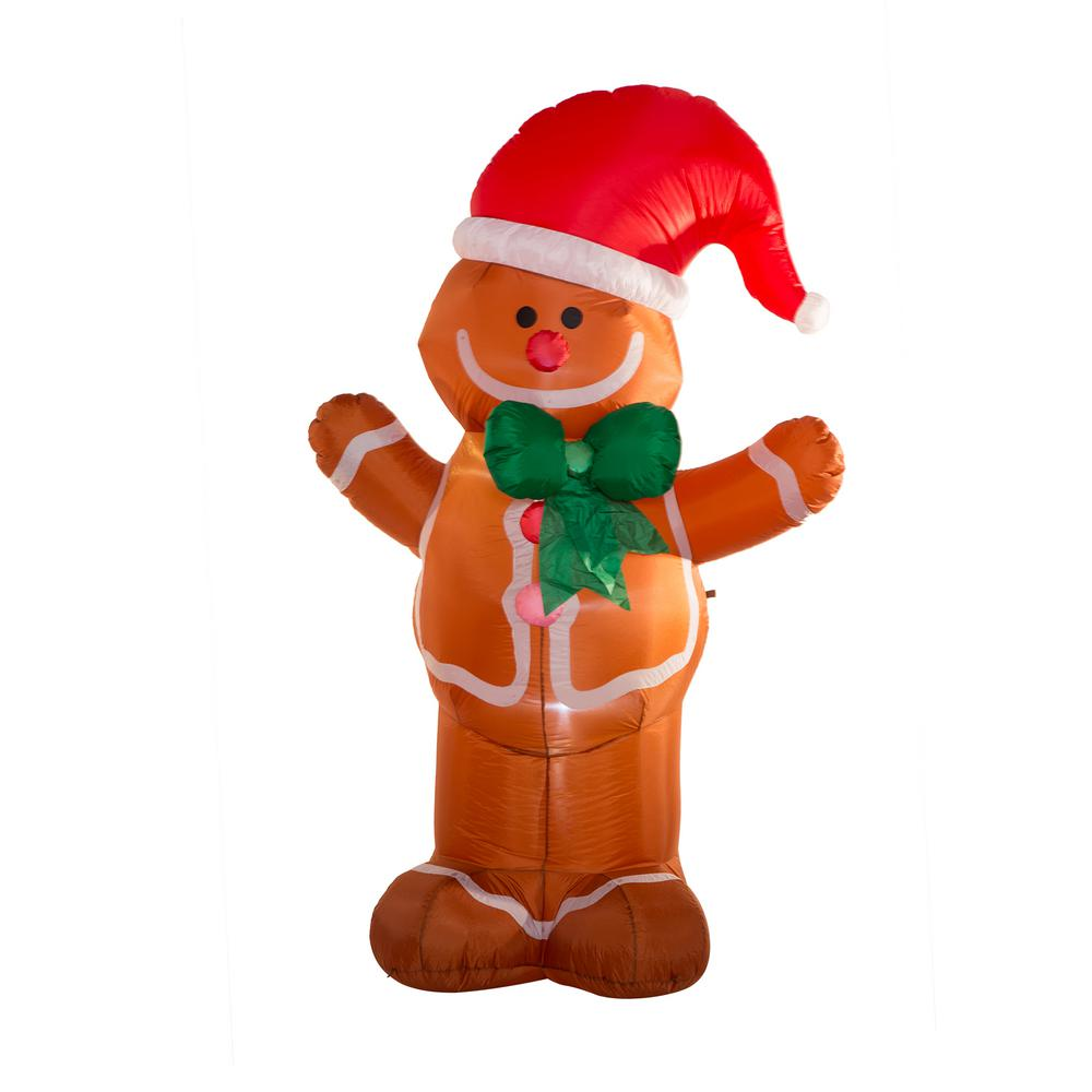 l lighted inflatable gingerbread man decor - Inflatable Gingerbread Man Christmas Decor