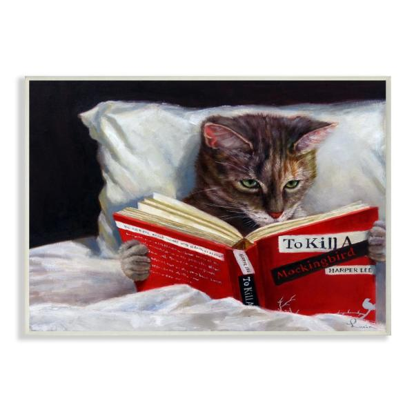 """Stupell Industries 10 in. x 15 in. """"Cat Reading a Book in Bed ..."""