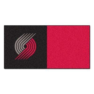 NBA Portland Trail Blazers Black and Red Pattern 18 in. x 18 in. Carpet Tile (20 Tiles/Case)