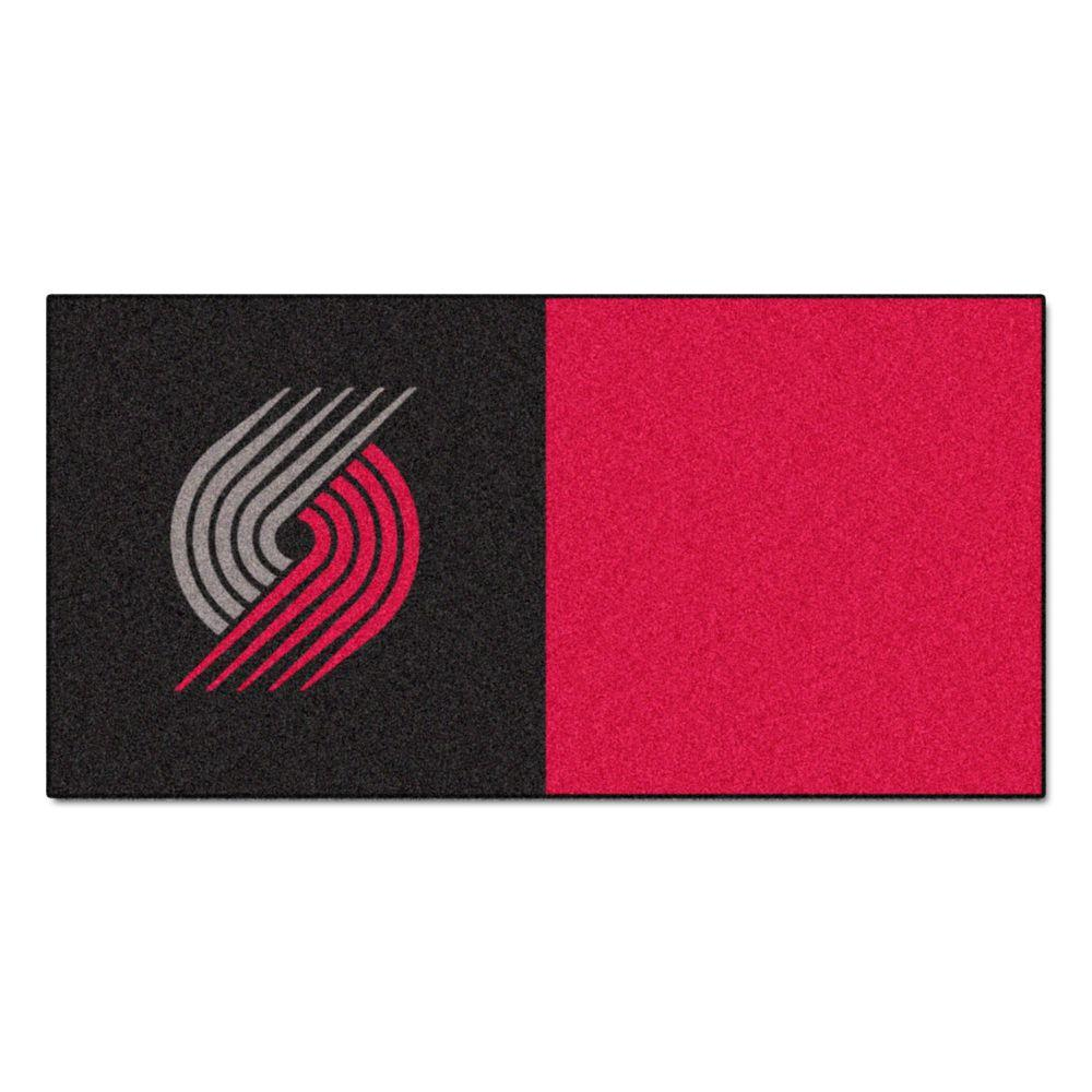 FANMATS NBA Portland Trail Blazers Black and Red Pattern 18 in. x 18 in. Carpet Tile (20 Tiles/Case)