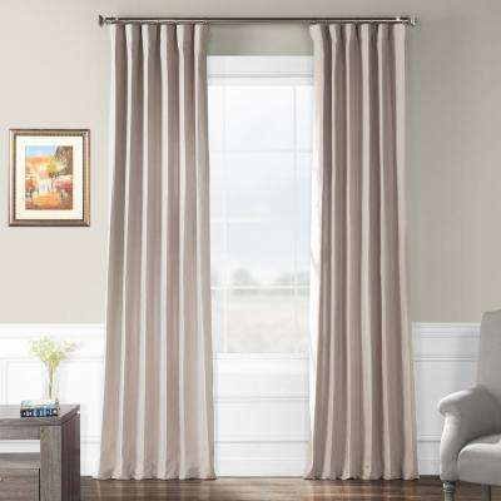 Earl Grey French Linen Curtain - 50 in. W x 120 in. L