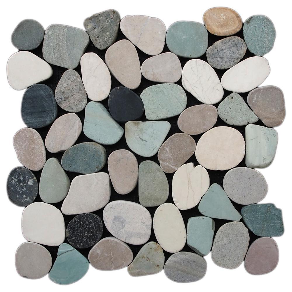 Cruz Bay Sliced Pebble Tile Black/Green/Tan 11-1/2 in  x 11-1/2 in  x 9 5mm  Honed Pebble Mosaic Tile (10 12 sq  ft  / case)