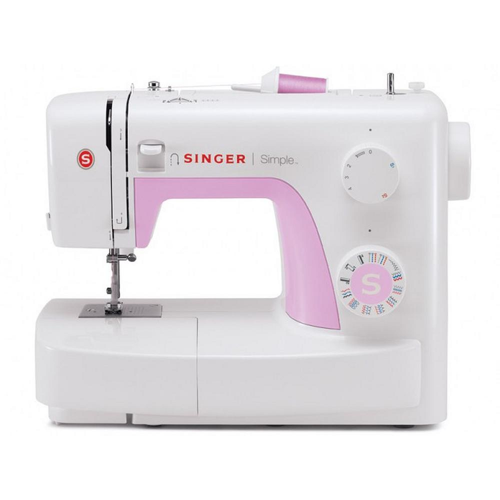 Simple 23-Stitch Sewing Machine, White/Pink Learning to sew is fun and easy with the SINGER 3223 SIMPLE sewing machines, created with beginner sewers in mind. This sewing machine will give you all of the foundational features you need to get off to a great start. Boasting easy threading, simple stitch selection and free accessories, set-up is a breeze! Customize your projects using any of the 23 built-in stitches including an automatic 4-step buttonhole and adjustable stitch length and zigzag width. This will be a sewing machine you will enjoy for years to come! Color: White/Pink.