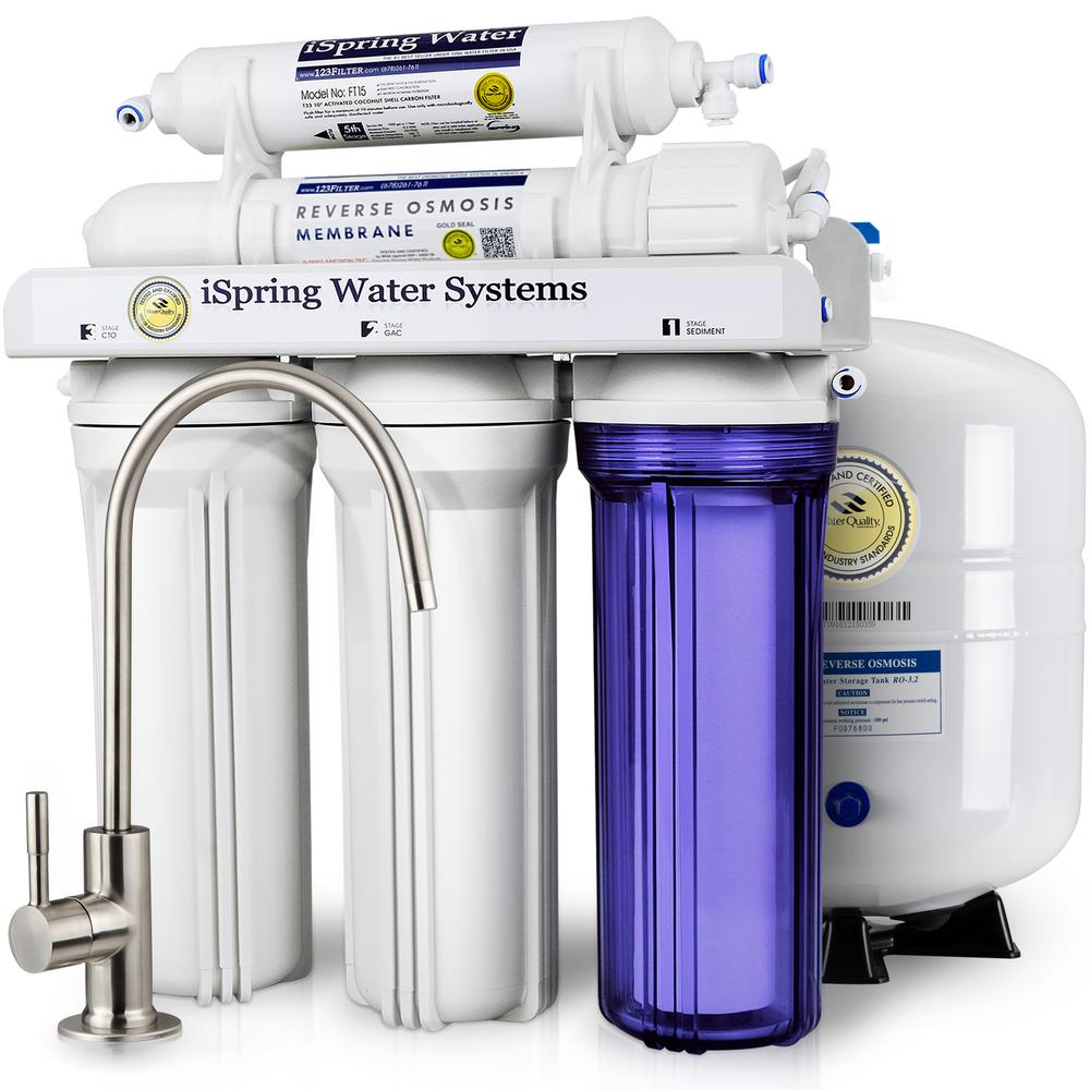 ISPRING WQA Gold Seal 5-Stage with  Superior Quality Filter 75GPD Under Sink Reverse Osmosis Drinking Water Filtration System
