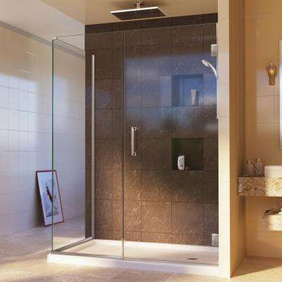Unidoor Plus 34-3/8 in. x 46-1/2 in. x 72 in. Hinged Shower Enclosure in Brushed Nickel