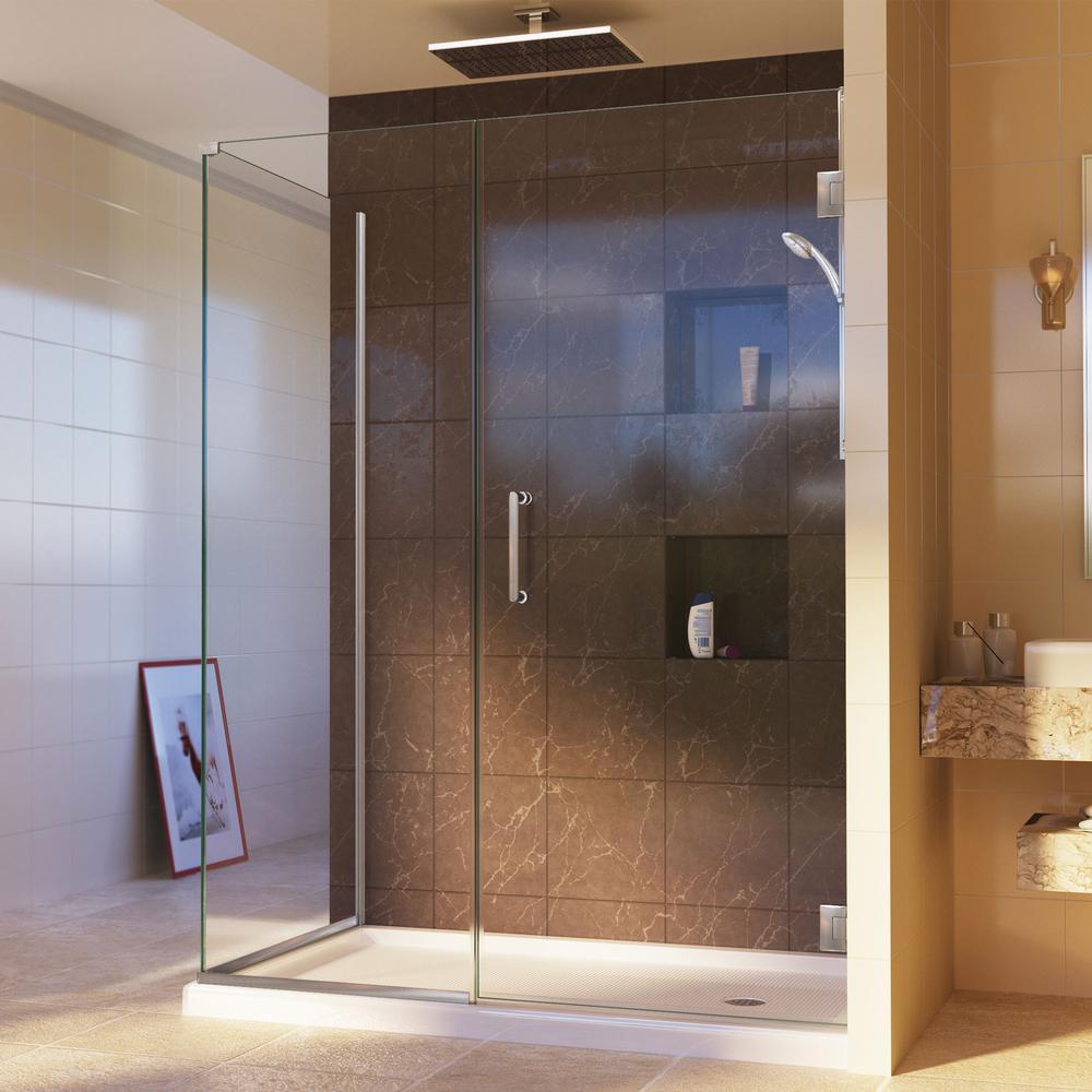 Unidoor Plus 34-3/8 in. x 58 in. x 72 in. Hinged Corner Shower Enclosure in Brushed Nickel